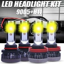 4PCS Combo 9005+H11 3000K Yellow COB LED Headlight Bulbs 120W 26000LM Car Lamp