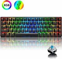 60% True Mechanical Gaming Keyboard Type C Wired 68 Keys RGB Backlit Blue Switch