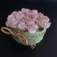 Composition florale roses fait main papier paille vintage art déco design N4419