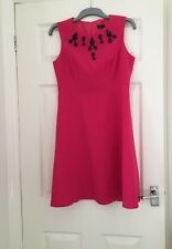 Size 12 Regular fit pink dress with black beading motif