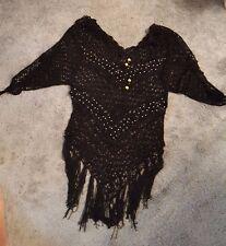 Hand Crochet Medium Black Shirt/Cover Up w/Silver Beads crochet in the Design