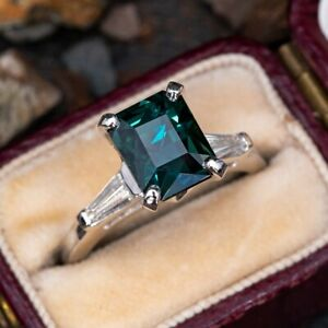 Natural Brilliant Cut Certified Teal Sapphire 925 Silver Engagement Ring
