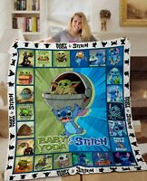 Baby Yoda, Star Wars Disney Stitch Cute Quilt Blanket Gift Idea For Fans