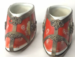 Vintage Pair Chinese Ceramic Decorative Lotus Shoe Red Hand Painted Marked