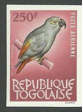 Togo Fauna Psittacus Erithacus Congo Grey Parrot Birds Imperforate Proof ** 1964