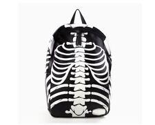 Rucksack gothic schwarz weiß skelett  knochen C027