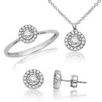 0.48ct Round Real Diamond 925 Sterling Silver Ring Earrings Pendant set