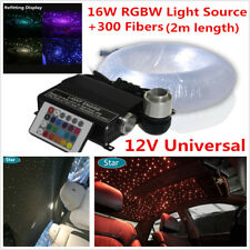 Home Car SUV LED Ceiling Light Fiber Optic Star Kit 16W RGBW Light Source+Fiber