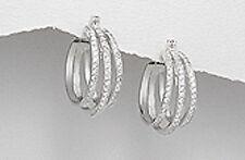 8.7g Solid 925 Sterling Silver 25mm Sparkling Elegance AAA CZ Hoop Earrings