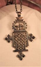 Handsome Hand-Crafted Point Armed Coptic Brasstone Goth Cross Pendant Necklace