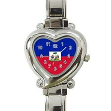 Haiti Haitian Flag Heart Italian Charm Watch