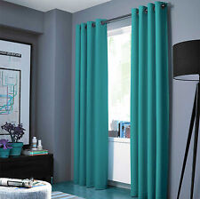 "100% Blackout Panels Heavy Thick Grommet Bay Window Curtain 1 Set Teal 84"" LENGH"