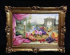 Cuadro con Frutas y flores Imágenes CUBIERTOS MESA 90x70 MARCO 01-01 G