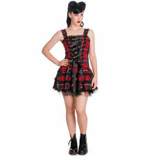 Womens Red Hell Bunny Harley Tartan Punk Alternative Grunge Casual Mini Dress 16 UK