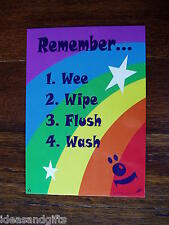 A5 Rainbow Stars Child Kids Toilet Training Sign Positive Subliminal Reminder