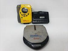 3 Vintage Sony Music Devices Sports Walkman Cassette Players Discman