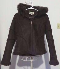 l.e.i. Brown Suede Feel Hip Length Hooded Fleece Lined Coat - Junior Size M