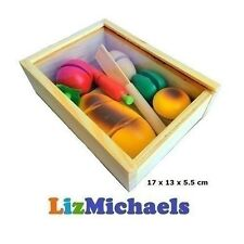 KIDS TOY WOODEN BREAD FOOD BOX Fruit Slices Vegetable Cutting  Kitchen Pretend P