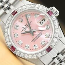 LADIES ROLEX DATEJUST 18K WHITE GOLD DIAMOND RUBY & STEEL PINK DIAL WATCH