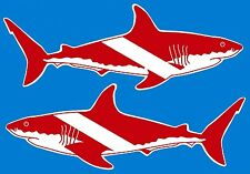 "3.25"" GREAT WHITE SHARK SCUBA FLAG Sticker / Decal. Dive diver diving fins tank"