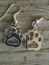 Cat/Dog/Tiger Paw Print Earrings Silvery Shiny Fun Acrylic