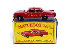 Matchbox Lesney No.59b Ford Fairlane Fire Chief Car In D Box (ERROR PIECE, VGC)