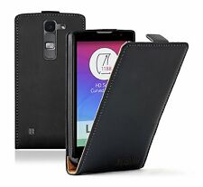 Ultra Slim BLACK Leather Flip Case Cover Pouch for Mobile Phone LG Spirit