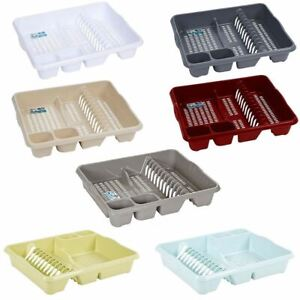 Large Plastic Kitchen Plaste Dish Drainier Rack Draining Board Cutlery Holder