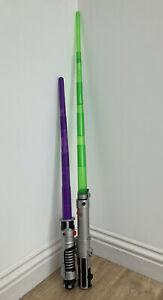 Star Wars Lightsaber Green 2006 Spring Loaded & 2002 Purple Rare Lucasfilm LFL