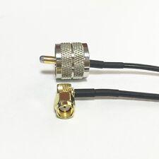 "UHF PL259 male to RP SMA male plug RA angle RF coax cable adapter  RG174 20cm 8"""