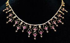 CERTIFIED NATURAL 7.2CT VS G DIAMOND RUBY 18K SOLID GOLD RIVIERA COLLAR NECKLACE