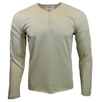 Mens Henley Long Sleeve Shirt Slim Fit Pullover 100% Cotton NEW