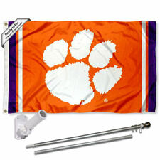 Clemson Tigers Stripes Flag Pole and Bracket Gift Package