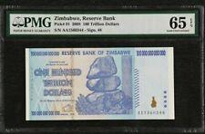2008 Zimbabwe 100 Trillion PMG65 EPQ GEM  UNC Prefix AA <P-91>
