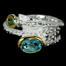 GENUINE AAA SWISS BLUE TOPAZ & SAPPHIRE STERLING 925 SILVER 2-TONE RING SIZE 7