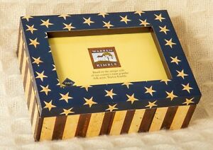 FLAG PHOTO BOX Warren Kimble FOLK ART 6x4 FETCO Frame Jewelry Keepsake Americana