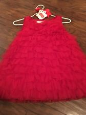 MUD PIE Red Chiffon Ruffle Christmas Holiday Dress 12-18 Months - New with Tags