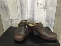 Clarks Artisan Women's s Heels Size 7.5 M Brown Leather Braided Mules