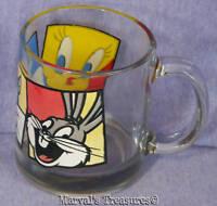 Vintage Warner Bros. Looney Toons Glass Mug Tweety, Sylvester and Bugs Bunny 199