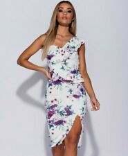 🎀 White Purple Floral One Shoulder Midi Bodycon Summer Evening Party Dress £65