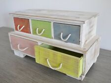 Petite Vintage Cabinet 3 plus 2  Drawers style jewellery Chest multi colour Mini