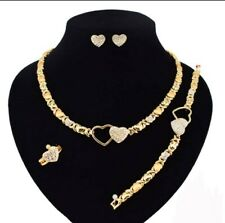 """HUGE & KISSES Necklace With Bracelet 18"""" Xo Earrings & Ring 18k Layered"""