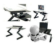 Adjustable Height Stand Up Lap Top Desk Table Portable Computer TV Tray Vented