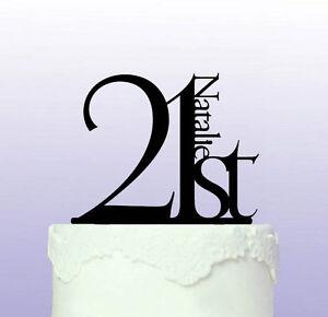 Elegant 21st Birthday Acrylic Cake Topper
