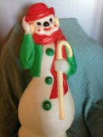 """VINTAGE 1980 CHRISTMAS EMPIRE 34"""" DERBY HAT SNOWMAN (GREEN) BLOW MOLD #2"""