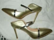 high heels Sandaletten, Gr. 43, gold, 2 Riemchen, 11 cm Absatz, selten