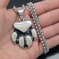 Men's Large BEAR CLAW Paw Solid 316L Stainless Steel Pendant Necklace