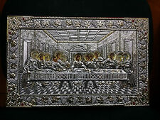 The Last Supper Greek Orthodox Byzantine Icon Silver Icon 42x27cm