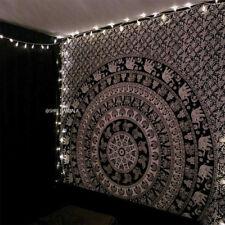 Mandala Tapestry King Size Hippie Wall Hanging Black and White Elephant Mandala