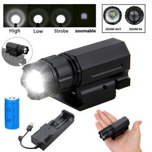 Tactical Zoom Taschenlampe Jagd 3 Mode Licht Weaver/Picatinny Rail Für Pistole
